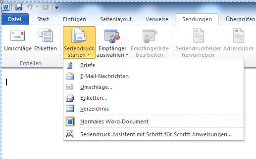 Seriendruck starten Outlook - Serienmail mit Outlook und Word 2010