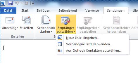 Serienmail Empfänger auswählen Word 2010 - Serienmail mit Outlook und Word 2010