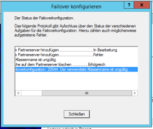 Fehler bei der Failoverkonfiguration: 20044. Der verwendete Klassenname ist ungültig