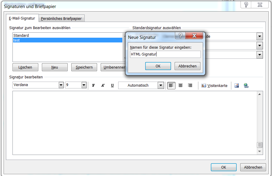 Outlook neue Signatur erstellen