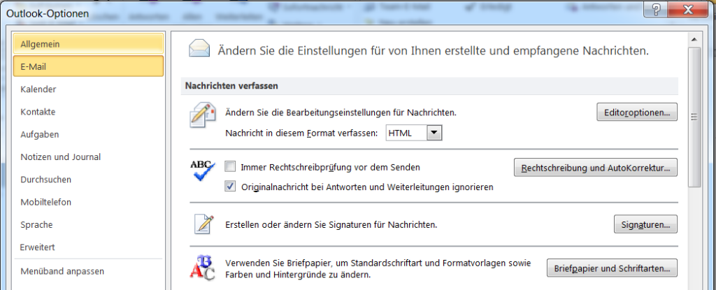 E-Mail Outlook Signatur
