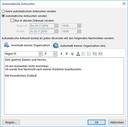 Abwesenheitsnotiz in Outlook 2016 - Automatische Antworten