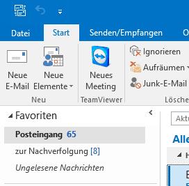 Abwesenheitsnotiz in Outlook 2016 - Outlook Menü