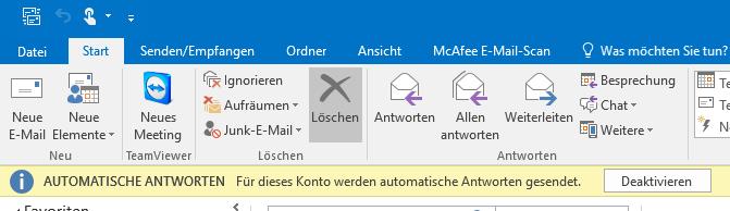 Abwesenheitsnotiz in Outlook 2016 - Automatische Antworten - Abwesenheitsassistent deaktivieren AUTOMATISCHE ANTWORTEN Für dieses Konto werden automatische Antworten gesendet